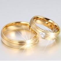 Par Alianças Baratas Casamento C/ Zircônia Linda Ouro 18k