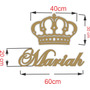 Nome 60cm X 20cm + Coroa 30cm X 40cm Festa Decoração Mdf Crú