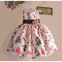 Vestido Aniversário Infantil Florido Marrom E Rosa, Festa