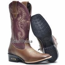 Bota Feminina Texana Country Cano Alto Bico Quadrado Bordada