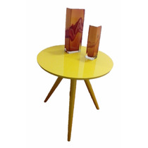Mesa Decorativa Mesinha Canto Tripé Laqueada E Laminada Nova