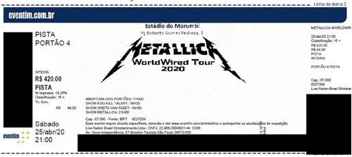 Ingresso Show Metallica E Greta Van Fleet 2020 - Sp