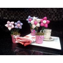 20 Vasinhos Com Flores De Fuxico