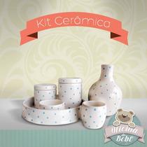 Kit Higiene Porcelana + 01 Porta Alcool Gel (6 Peças) Cores