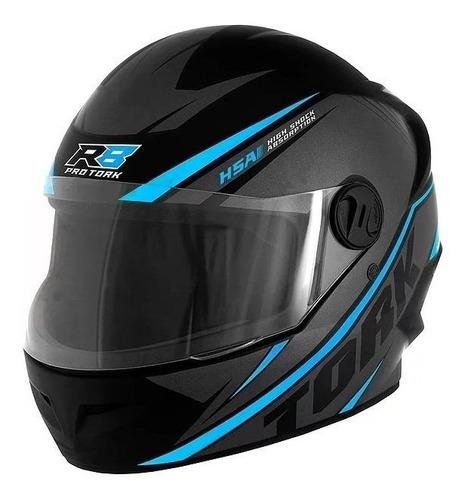 Capacete Para Moto Integral Pro Tork R8 Preto/azul-claro Tamanho 58