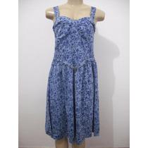 Vestido Azul Florido Alças Tam M Usado Bom Estado