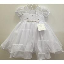 Vestido Infantil Batizado Daminha Bebe Com Faixa De Cabelo