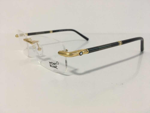 1477a3338c5ec Armação Óculos Mont Blanc 492 Sem Aro Dourado Top