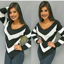 Blusas Listrada Tricot Crochet Em V Preferida Das Blogueiras