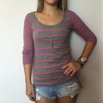 Blusa Camisa 3/4 Hollister Feminina Pp/p/m 100%original Hco