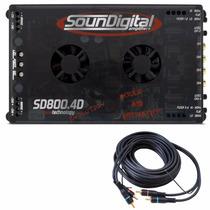 Modulo Amplificador Soundigital Sd800.4 Mono Stereo Brinde