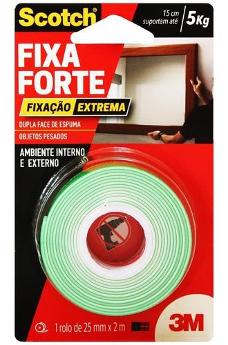 Fita Dupla Face Fixa Forte 24mm X 2m Scotch 3m 5kg Extrema