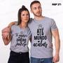 Kit C/2 Camisetas Cinza Namorados Casal Te Amarei De 37