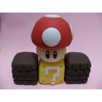 Kit De Decoração Em Biscuit - Mario Bros - Toad E Tijolinhos