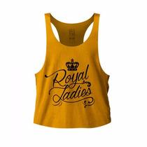 Regata Academia Feminina Camisa Fitness Blusa Lisa Royal