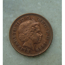 1550 Inglaterra 2 New Pence, 1999 , Bronze, 26 Mm, Elizabeth