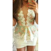 Blusa Feminina Peplum Renda Moda Blogueiras Grippir Luxo