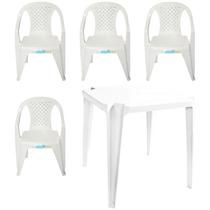 Conjunto Mesa Firenze Plástico 4 Cadeiras Trindade P/150kg