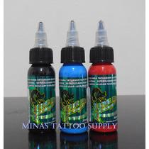 Kit Com 03 Tintas Para Tatuagem Tattoo Electric Ink 30ml