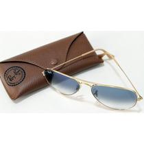 Óculos Ray-ban Original Aviador Rb3025 Dourado Azul Degrade