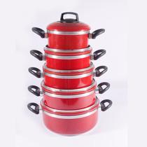 Jogo De Panelas Craquelada Com 5 Pçs(vermelho, Azul E Preto)