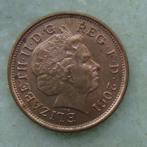 1558 Inglaterra 2 New Pence, 2001 , Elizabeth Bronze, 26 Mm