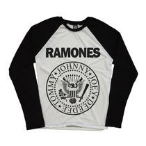Ramones Rock Bandas Blusa Raglan Manga Longa Personalizada
