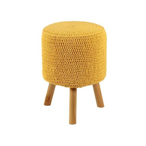 Banco Round Crochê Pé Madeira Amarelo E Natural