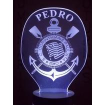 Luminária, Abajur De Tomada Escudo Corinthians Personalizado
