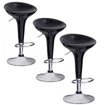 3 Banquetas Preta Giratória Encosto Cozinha Bar Abs 42200x3