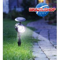 Luminária Solar Jardim Holofote 4 Leds Não Usa Fio