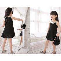 Vestido Infantil Preto Com Bege De Renda - Pronta Entrega