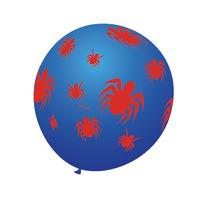 Balão Art-latex Nº9 Azul Aranhas Vermelhas - Bexiga 25u