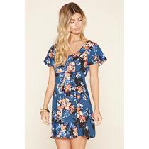 Vestido Curto Forever 21 Cor Azul Com Estampa Floral