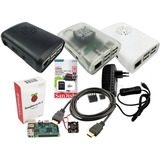 Kit Raspberry Pi3 B,  Fonte, Case, Dissipadores, Hdmi E 16gb