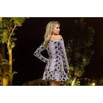 Vestido Curto Tecido Grosso Jacquard Manga Longa - Frio