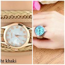 Relógio Feminino Bracelete Strass +um Relógio De Dedo