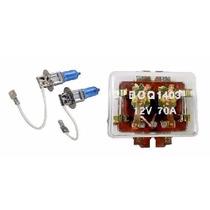 Kit Par De Lâmpadas H3 100w 12v Super Branca E Rele Duplo