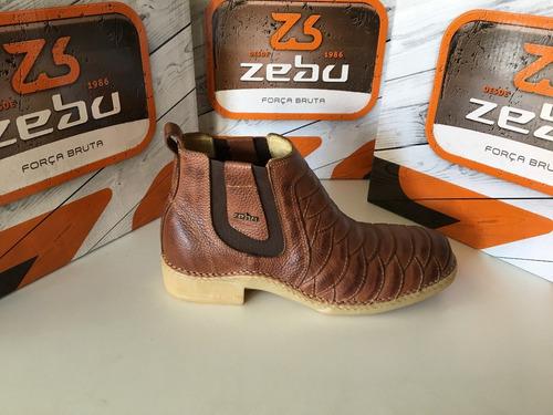 2dac54ed379 Botina Zebu Original Jacaranda Cores Whisky E Castor