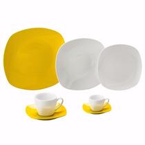 Aparelho De Jantar Porcelana Quadrado Amarelo 42 Pcs L 8004