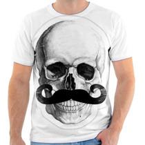 Camiseta Camisa Personalizada Caveira Bigode Skull 153