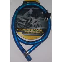 Cadeado Cabo Aço Blindado 18mm Moto Estepe Portão Azul