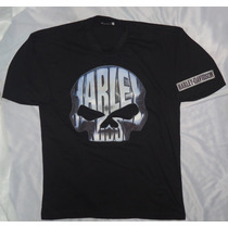 Camisa Camiseta Blusa Customizada Harley Davidson Big Skull