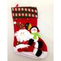 Decoração Meia De Natal Vermelha Boneco De Neve E Papai Noel