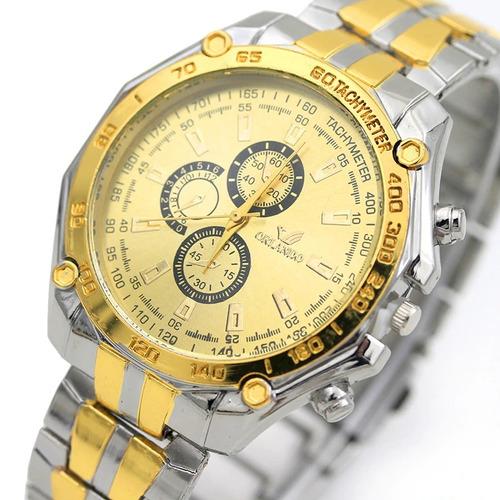 123dbadf564 Relógio Quartz Masculino Aço Cromado Dourado M  Orlando. R  39.9