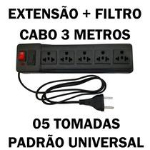 Filtro De Linha Universal Extensão 05 Tomadas Cabo 3 Metros