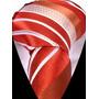 Gravata Seda Listras Vermelho Telha E Branco Gvt 2154