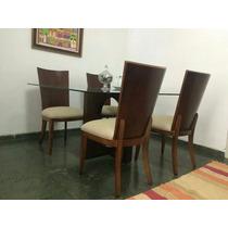Conjunto Mesa De Vidro + 4 Cadeiras Madeira De Qualidade