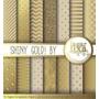 Kit Scrapbook Digital Papéis Dourados Para Arte Adesivos