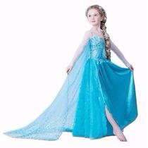 Fantasia Vestido Elsa Frozen Disney Pronta Entrega